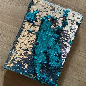 Blank journal teal & silver sequins book NEW